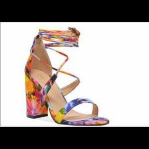 Floral Multicolored Wrap up Platform Sandal